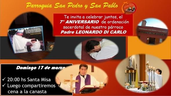 Séptimo aniversario de Ordenación Sacerdotal de nuestro Párroco Leonardo Di Carlo