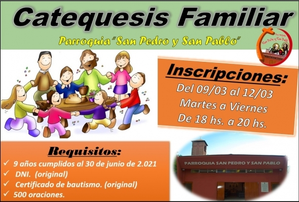 Inscripciones Catequesis Familiar 2021.-