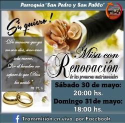 MISA CON RENOVACIÓN DE LAS PROMESAS MATRIMONIALES