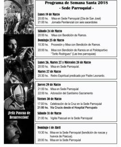 PROGRAMA DE SEMANA SANTA 2018 - Sede Parroquial