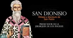 San Dionisio. Primer Obispo de Atenas. Predicador de la Jerarquía de los Ángeles
