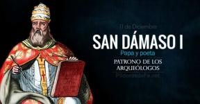 San Dámaso I, Papa y poeta. Patrono de los Arqueólogos